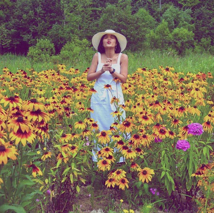 Clozetter at a sunflower field