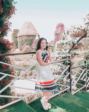 Exploring Dubai's Miracle Garden in my @plainsandprints summer dress ✨ #visitdubai #clozette #hkristinetravels