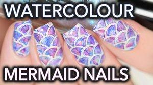 Watercolour mermaid nail art SO EASY!! - YouTube