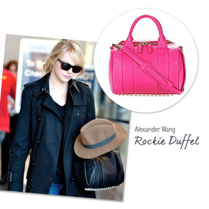 Emma Stone with the Alexander Wang Rockie Duffel