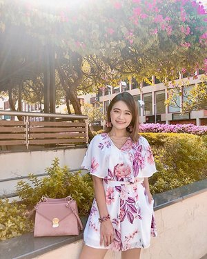 """When the petals on my romper came to life, I wore em' on my ears.🌸🌸 ; """"May the flowers remind us, why the rain was so necessary.""""💧 . . . #lechicootd #charleskeith #clozette"""