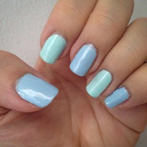 DIY nails in baby blue and green