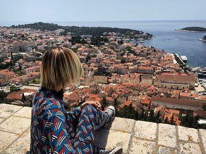 Best seat in town. #travel #balkans #croatia #hvar #postcard #spanishfortress #style #clozette #ootd #travelootd #latergram