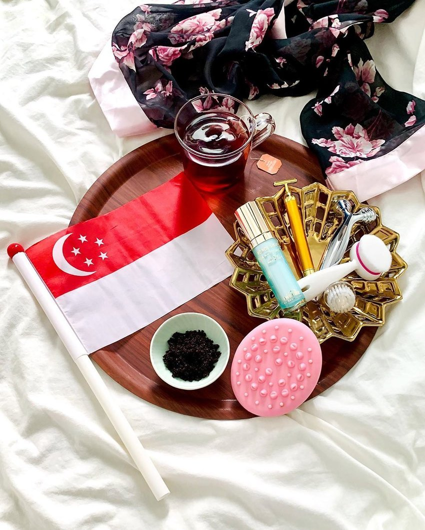 Beauty flatlay with skincare face tools
