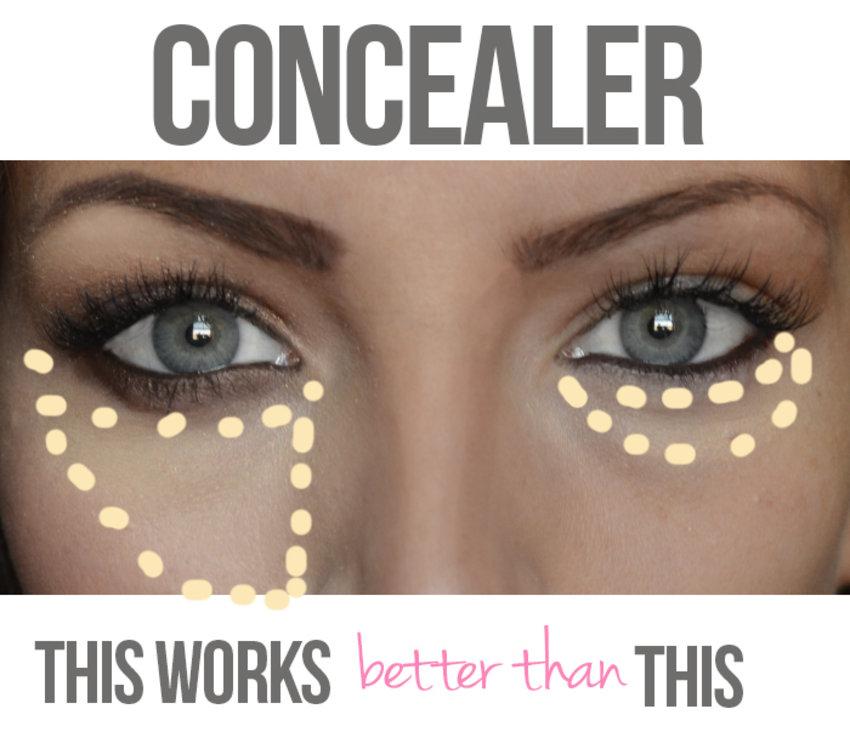 Found this under eye concealer tip here: http://www.maskcara.com/2013/03/21/baggage/
