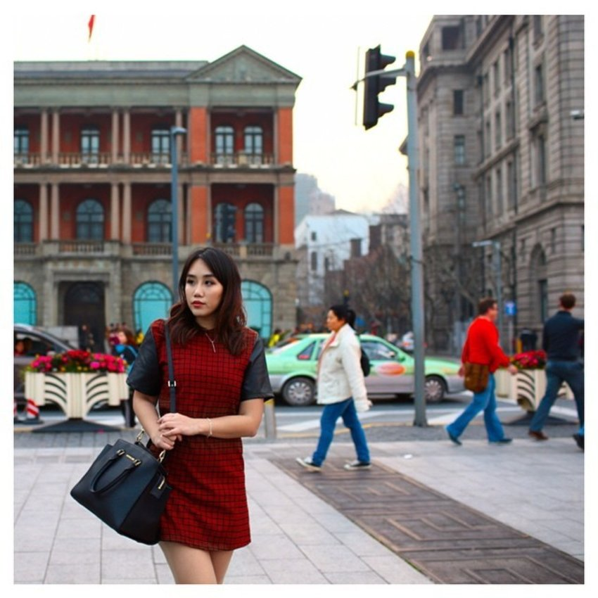 A dash of colour against the grey that is Shanghai. Dressed up in @dressabelle. This is an exclusive piece - Checked Leather Sleeve Shift Dress. Traveling with me to Shanghai was my handy dandy @michaelkorsworld Selma bag from @shopbop and delicate silver necklace from @jlheartonline. Photo by @cheryltaysg and edited by @zacharyyong. #shanghai #china #travel #上海 #中国 #explore #puxi #outfit #ootd #style #clozette #clozetteambassador #michaelkors #jlheart #dressabelle #dsbootd