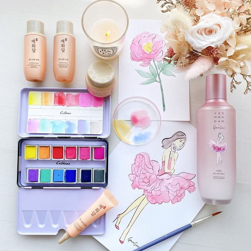 Skincare products and watercolour art