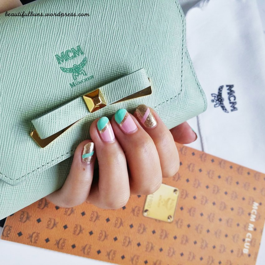 Changed my nails to something more demure and feminine and realised I bought this mint mcm wallet sometime ago in Korea and never got to using it. To use or not to use? Hmmmm.