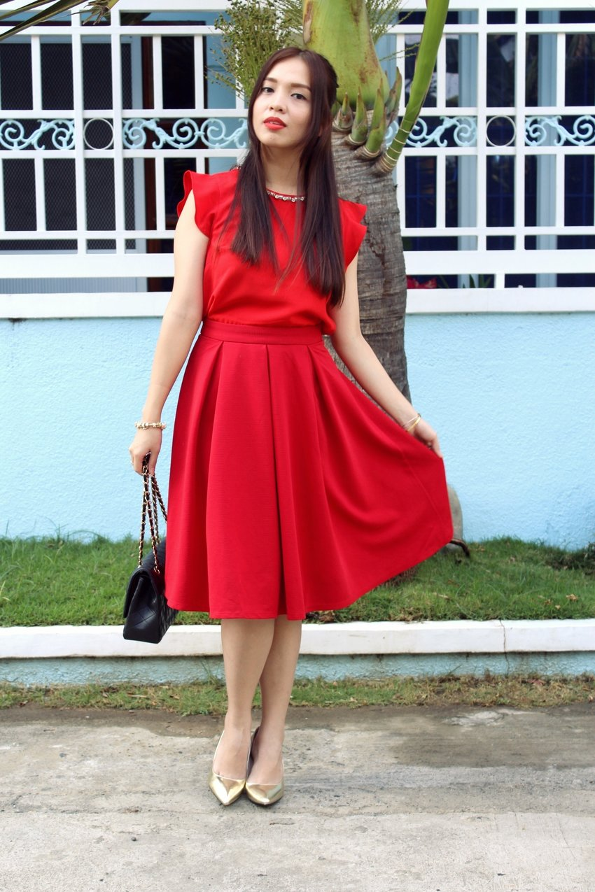 How about an all red outfit for Valentines Day? #ootd #red #valentines #casual #clozette #clozetteambassador #patriciaandrada