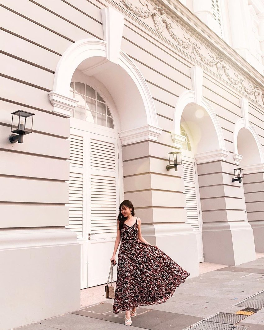 Black floral dress with voluminous skirt style