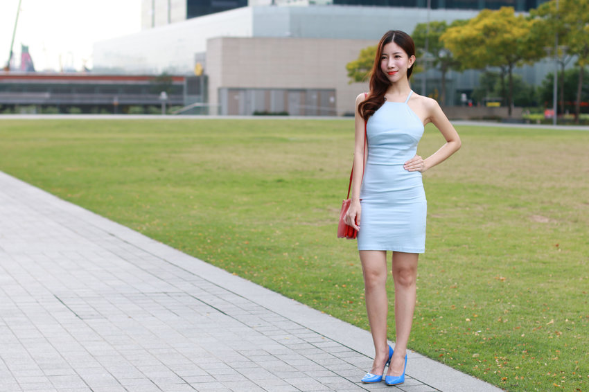 Gorgeous blue halter neck dress appropriate for every occasion! You can get it now at @shophangers!