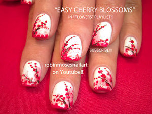 very pretty cherry blossom nail art. more on http://yo-nailart.blogspot.com. credits to the person who did this. I just happened to stumble upon the blog.