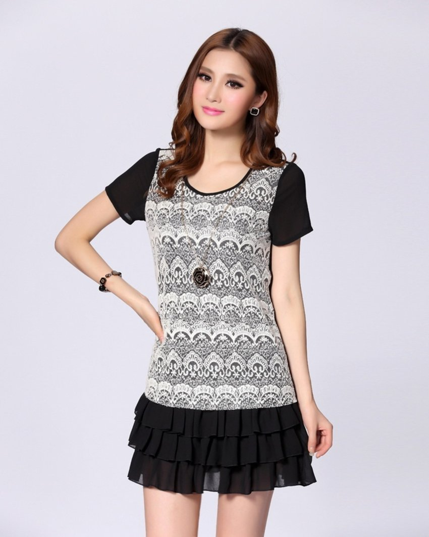 Fashion lace short paragraph cake Dress [W103005]