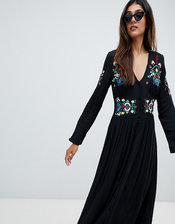 ASOS TALL Embroidered Maxi Dress-Black