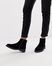 River Island flat boots in black suede