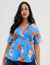 Influence Plus tea blouse in blue floral