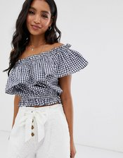 French Connection Lavande gingham top-Multi