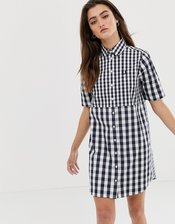 Fred Perry mixed gingham dress-Navy