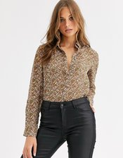 Vero Moda sheer blouse in ditsy floral print-Multi
