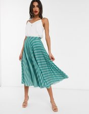 Closet London pleated skirt in teal stripe-Blue