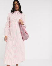 Verona Curve maxi shirt dress in strpie-Pink